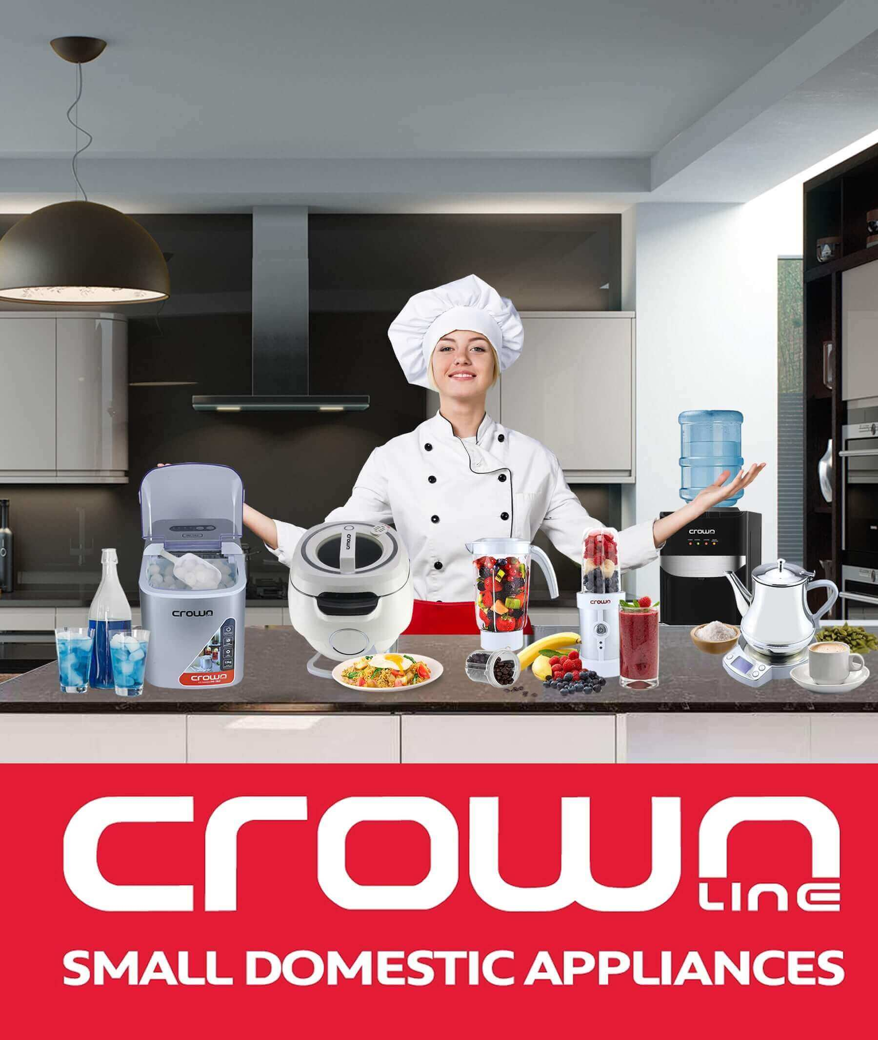crown line home appliances display with women model