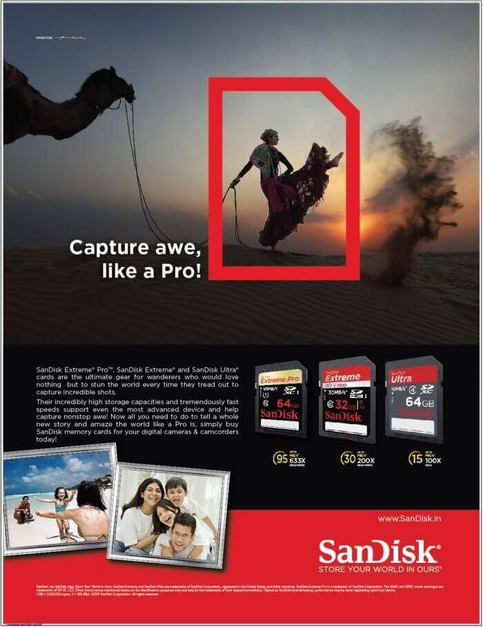sandisk memory card advertisement banner
